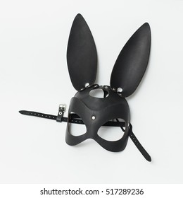 Black leather fetish bdsm rabbit mask for role play on white background