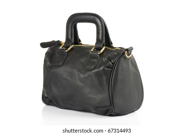 Black leather handbag on a white background