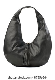 Black leather hobo bag isolated over white
