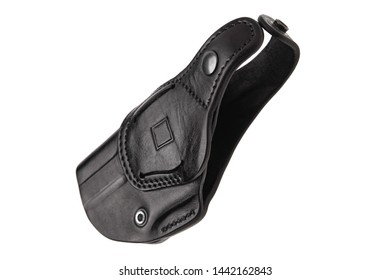 Black leather holster for a gun isolate on a white background.