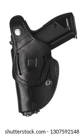 Black leather holster for a pistol isolated on white background