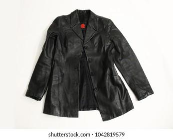 Black leather jacket.