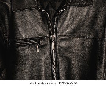 black leather jacket, closeup