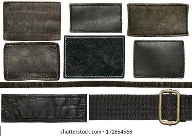 Black leather jeans labels and straps