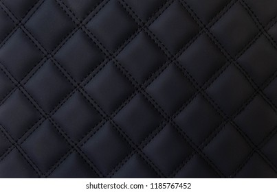 black leather Mat with straight stitching soft leather machine foot textured pattern collection concept background  business