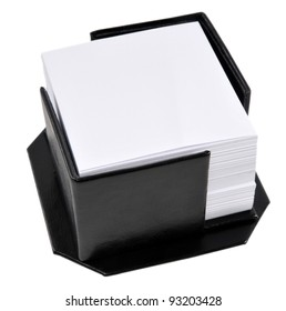 Black leather memo pad holder with blank white memo paper, isolated on a white background.