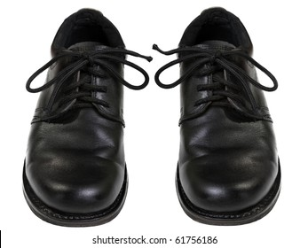 Black leather men fashion shoe pair white isolated