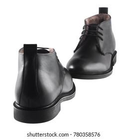 Black leather men's winter boots isolated on white background