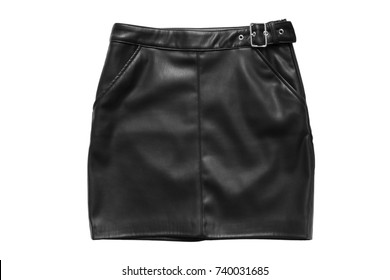 Black leather mini skirt isolated over white