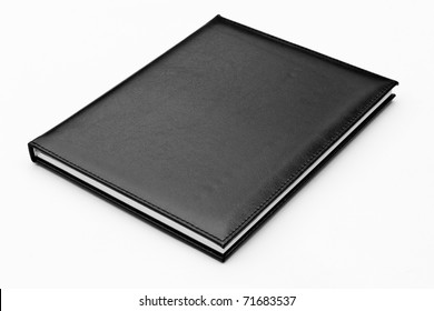 black leather notebook isolated