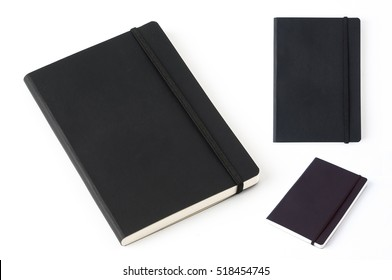 Black leather notebook isolated on white background