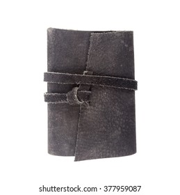 Black Leather notebooks isolated on white background