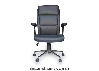 Black leather office chair with black backrest, black seat and handles, on wheels isolated on white background,  with clipping path