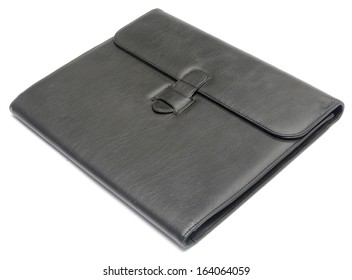 black leather paperwork isolated on white