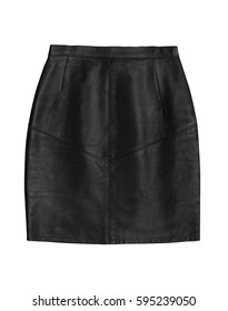 black leather pencil skirt, isolated on white background