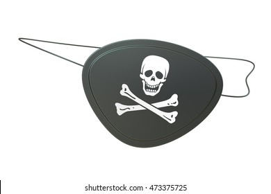Black leather pirate eye patch, 3D rendering isolated on white background