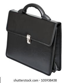 black leather portfolio on a white background