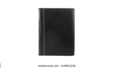 Black Leather PU Agenda Diary Notebook with pen holder isolated on white background. In stationery, diary or appointment book is small book containing a main diary section with space for each day