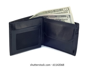 Black leather purse with two banknotes  on a white background