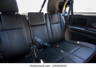 black leather  rear seat,3rd row seat in minivans.