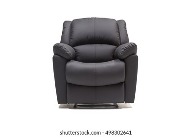 Black leather recliner with control knob against white background