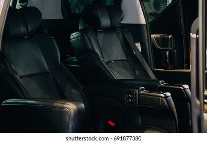 Black leather seats inside luxury car with new Innovation.
