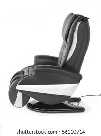 Black leather shiatsu massage chair.
