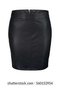 Black leather skirt isolated on white