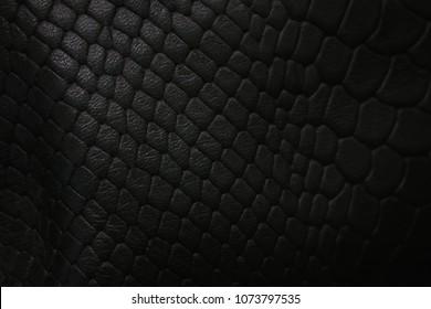 Black leather snake skin texture
