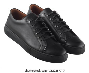 Black men's leather sneakers isolated on white background