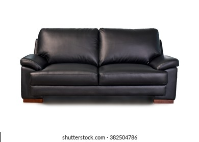 Black leather sofa on white background