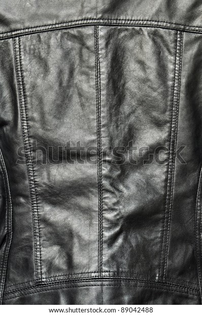 Black leather texture, jacket or clothing.