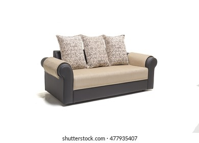 BLACK LEATHER THREE SEATER WITH GOLDEN COVERS WITH WHITE BACKGROUND.