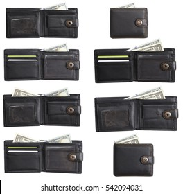 black  leather wallet with cash  dollars isolated set
