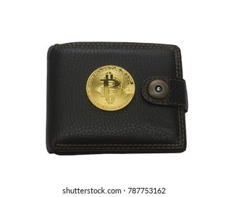 black leather wallet and golden metal bit coin isolated