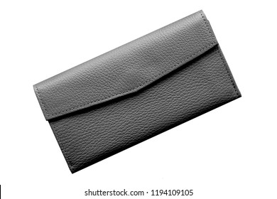 Black leather wallet isolated on white background