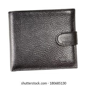 black leather wallet, isolated on white background