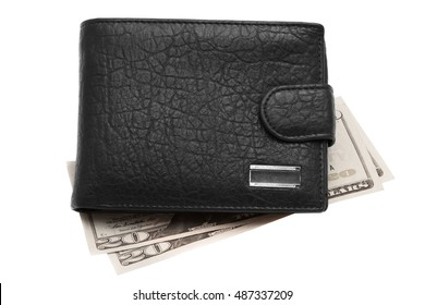 Black leather wallet with money. Isolated on white background