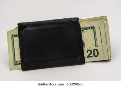 Black leather wallet on a white background