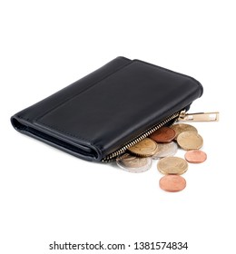 Black leather wallet with open zipper and euro coins spilled out isolated on white background