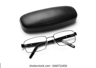Black leatherette eyeglass case and eyeglasses in fine metal frame