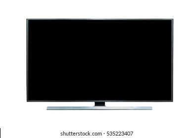 Black LED tv television / monitor mockup, with monitor stand, blank screen on white background