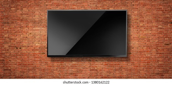 Black LED tv television screen blank on red wall background