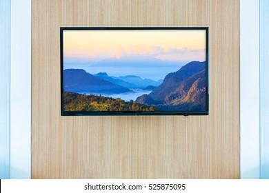 Black LED tv television screen mockup. Landscape on monitor