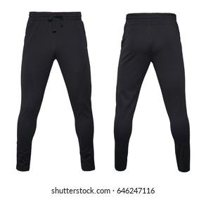 Black leggings pants isolated on white background
