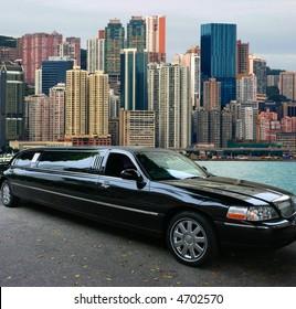 Black limousine in Hong Kong