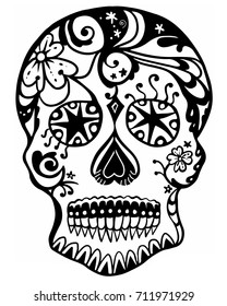 Black Line Art Sugar Skull with White Background