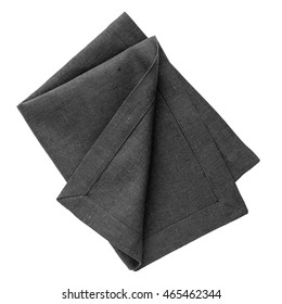 Black linen napkin isolated on white background