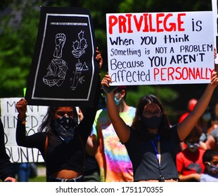 Black lives matter march in Victoria Park Woodstock, Ontario, Canada, June, 7, 2020.