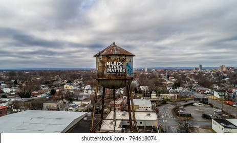 Black Lives Matter on water tower.